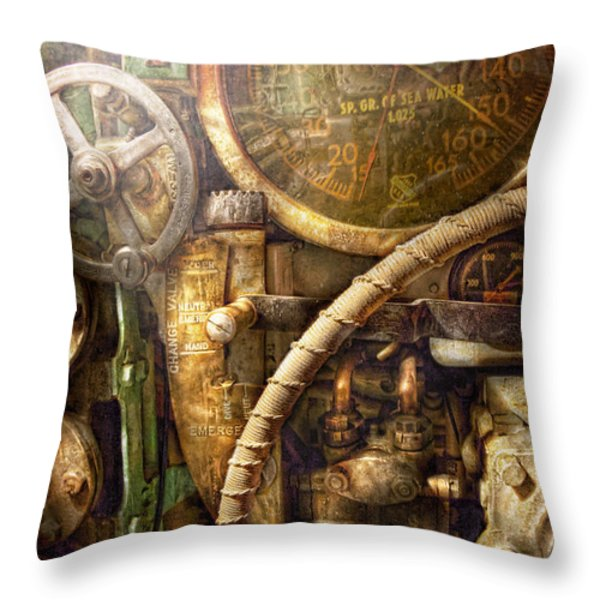 Steampunk - Naval - Watch the depth Throw Pillow by Mike Savad