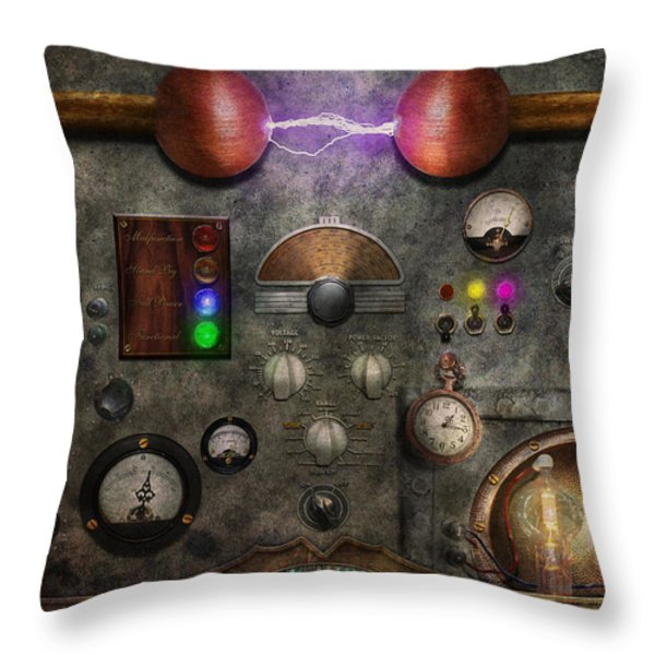 Steampunk - The Modulator Throw Pillow by Mike Savad