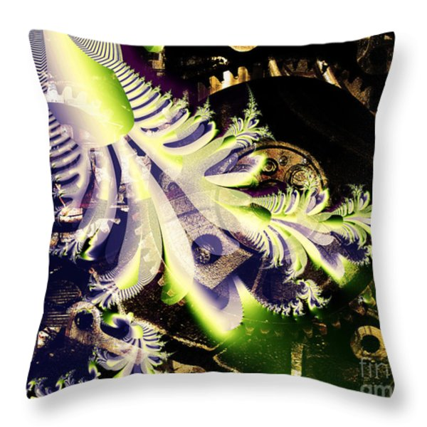 Steampunk Abstract Fractal . S2 Throw Pillow by Wingsdomain Art and Photography