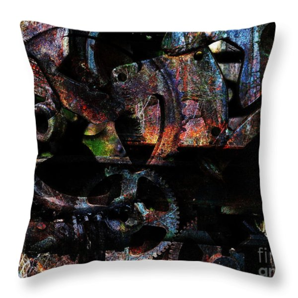 Steampunk DIY Project Figure 3628X1 . Sprocket Configuration Simplified Version Throw Pillow by Wingsdomain Art and Photography