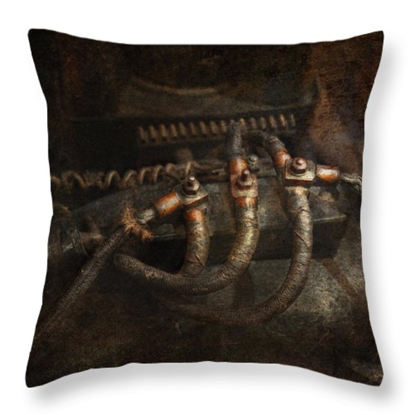 Steampunk - Electrical - Frayed Connections Throw Pillow by Mike Savad