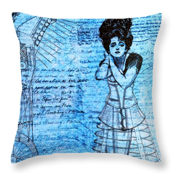 Steampunk Girls in Blues Throw Pillow by Nikki Marie Smith