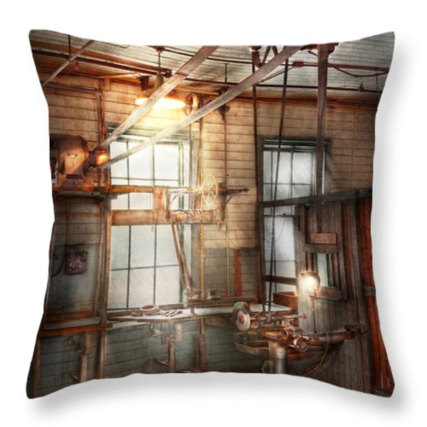 Steampunk - Machinist - The grinding station Throw Pillow by Mike Savad
