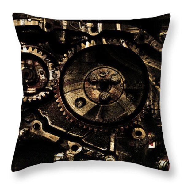 Steampunk Personal Decompression Chamber Model 39875DA78803 Fully Accessorized . Gold Plated Luxury  Throw Pillow by Wingsdomain Art and Photography