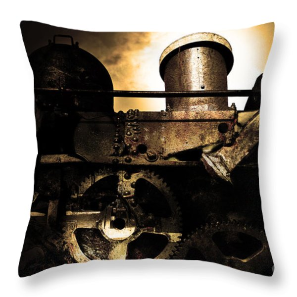 Steampunk Railway Transcontinental Line . Where Steam Is Still King . Gold Version Throw Pillow by Wingsdomain Art and Photography