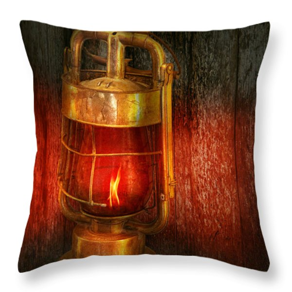 Steampunk - Red light district Throw Pillow by Mike Savad