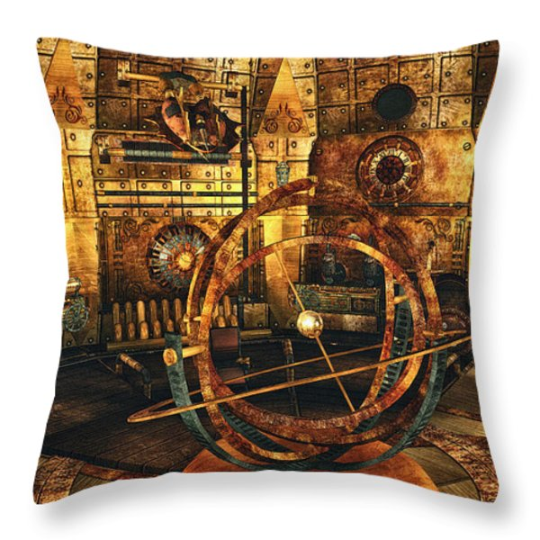 Steampunk Time Lab Throw Pillow by Jutta Maria Pusl