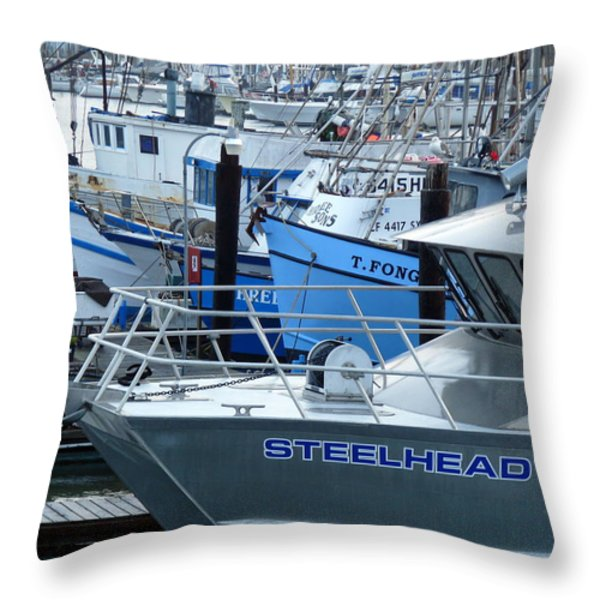 Steelhead and Fishing Boats Throw Pillow by Jeff Lowe