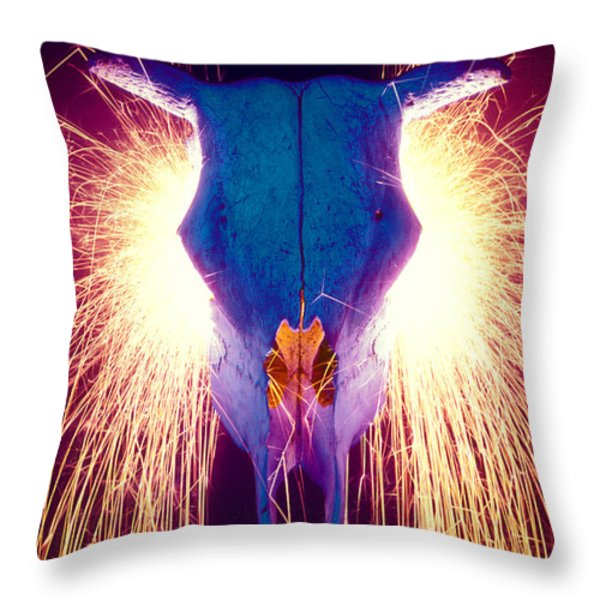 Steer Skull With Sparks Throw Pillow by Garry Gay