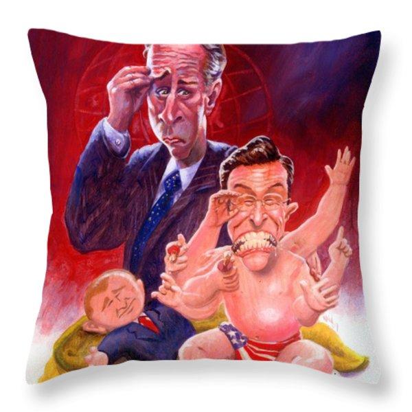 Stewart and Colbert Throw Pillow by Ken Meyer jr