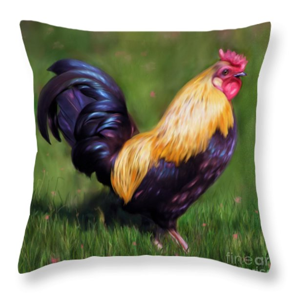 Stewart The Bantam Rooster Throw Pillow by Michelle Wrighton