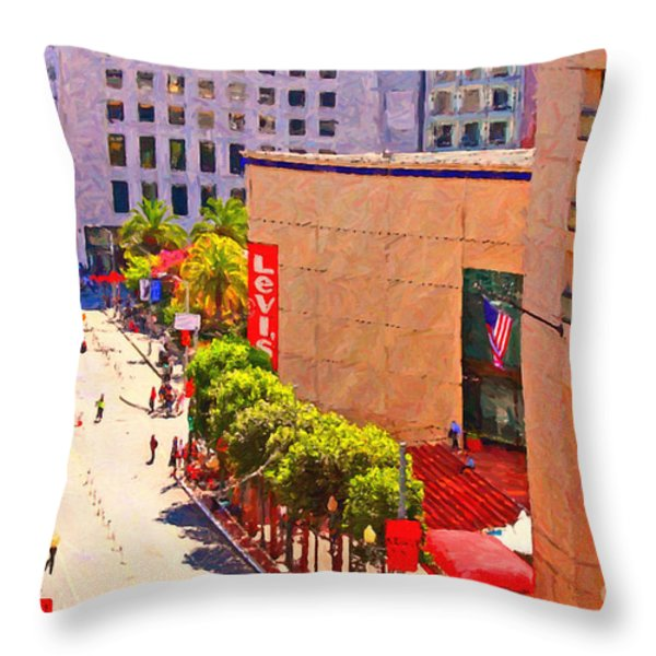 Stockton Street San Francisco Towards Union Square Throw Pillow by Wingsdomain Art and Photography