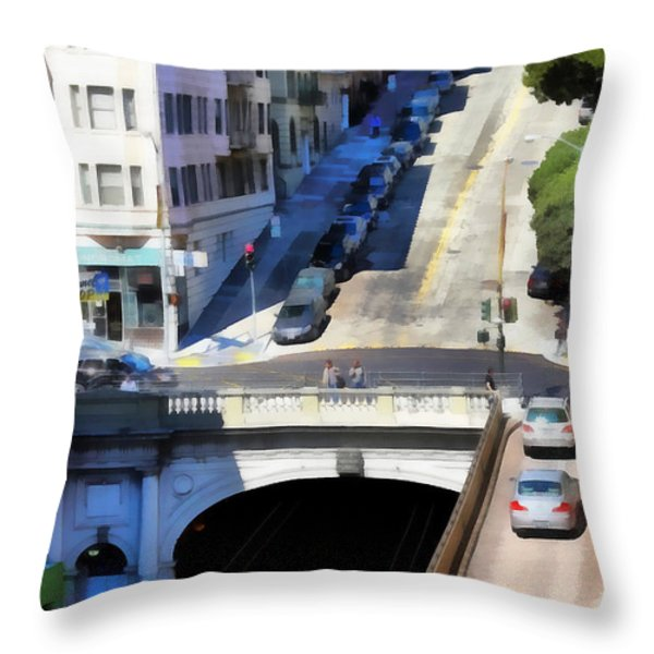 Stockton Street Tunnel in Hilly San Francisco . 7D7499 Throw Pillow by Wingsdomain Art and Photography