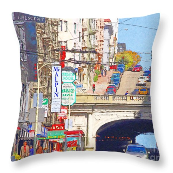 Stockton Street Tunnel in San Francisco . 7D7355 Throw Pillow by Wingsdomain Art and Photography