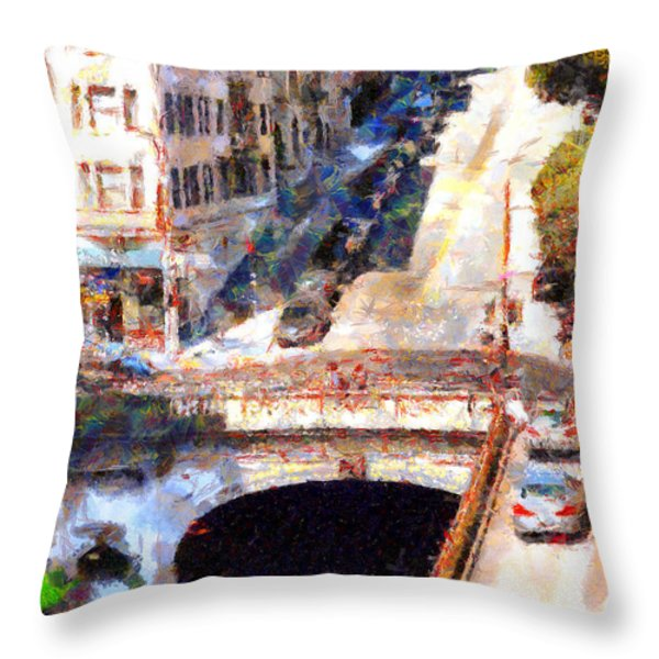 Stockton Street Tunnel San Francisco . 7D7499 Throw Pillow by Wingsdomain Art and Photography
