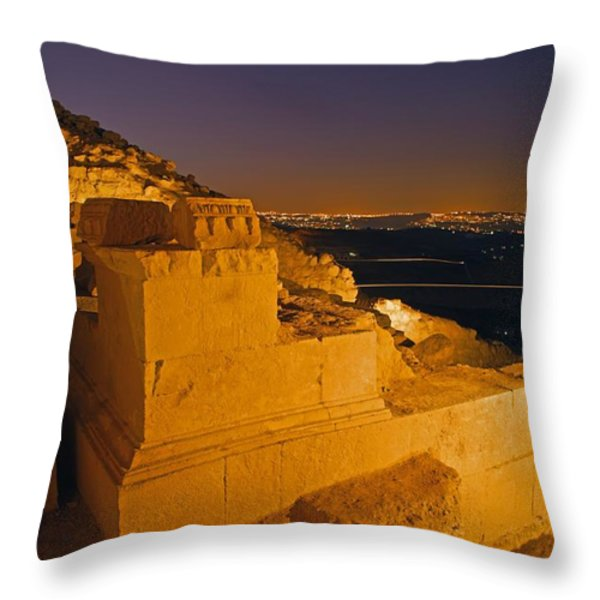 Stone Blocks Mark The Hillside Throw Pillow by Michael Melford