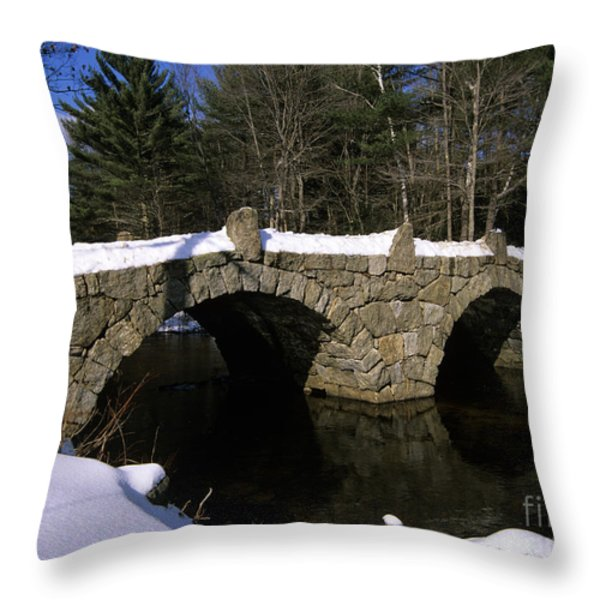 Stone Double Arched Bridge - Hillsborough New Hampshire USA Throw Pillow by Erin Paul Donovan