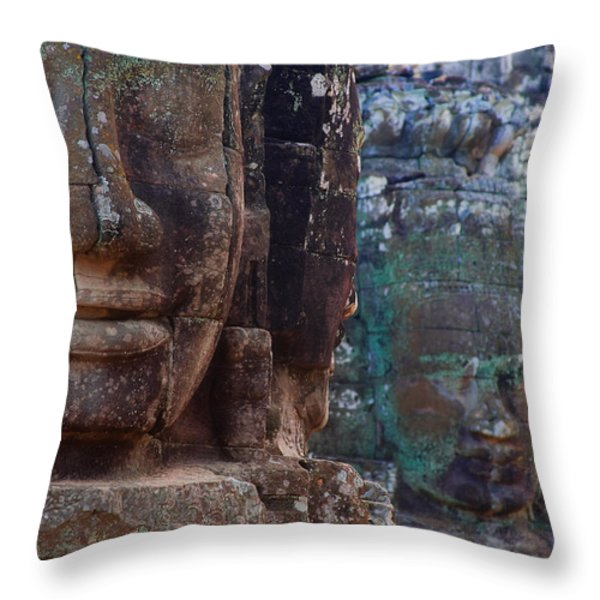 Stone Heads At Bayon Temple Throw Pillow by Carson Ganci