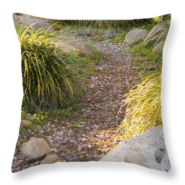 Stone Path Through Garden Throw Pillow by James Forte