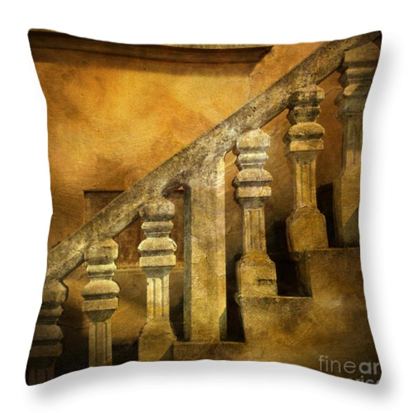 Stone stairs and balustrade. Throw Pillow by BERNARD JAUBERT