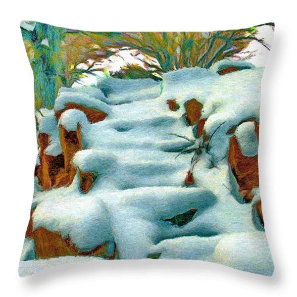 Stone Steps In Winter Throw Pillow by Jeff Kolker