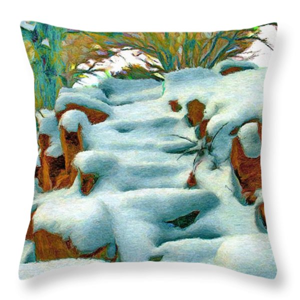 Stone Steps in Winter Throw Pillow by Jeff Kolker