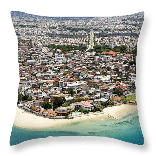 Stone Town Of Zanzibar Is The Cultural Throw Pillow by Michael Fay