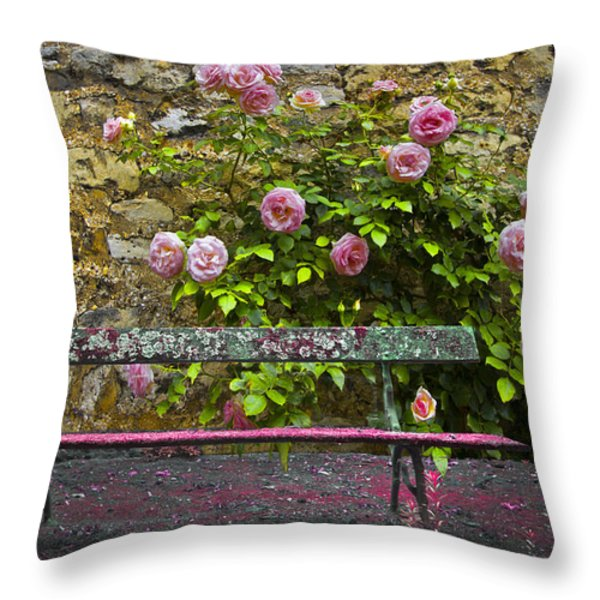 Stop And Smell The Roses Throw Pillow by Debra and Dave Vanderlaan
