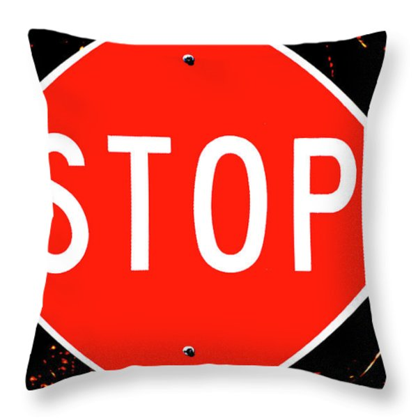 Stop Throw Pillow by Karol  Livote