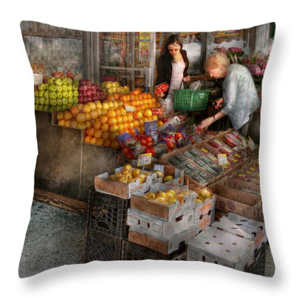 Storefront - Hoboken NJ - Picking out fresh fruit Throw Pillow by Mike Savad