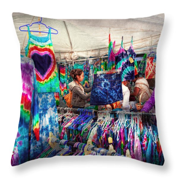 Storefront - Tie Dye Is Back Throw Pillow by Mike Savad