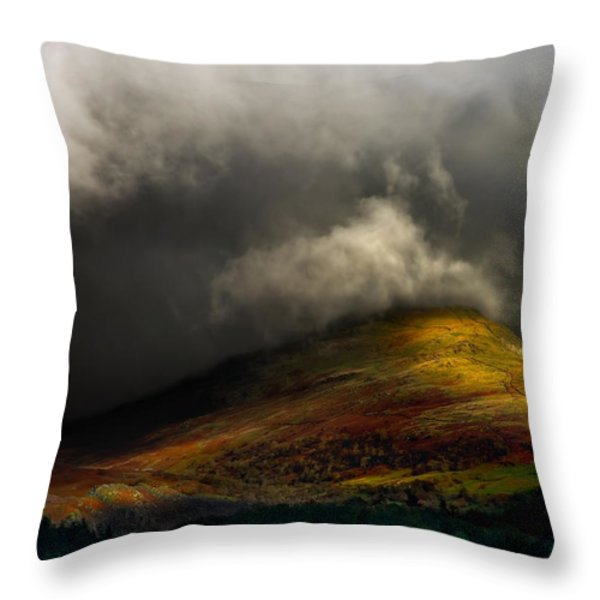 storm brewing over hawkshead Throw Pillow by Meirion Matthias
