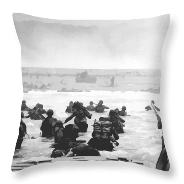 Storming The Beach On D-Day  Throw Pillow by War Is Hell Store