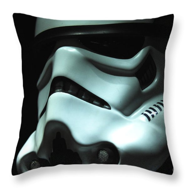 Stormtrooper Helmet Throw Pillow by Micah May