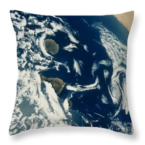Stratus Cloud Formations Over Canary Throw Pillow by NASA
