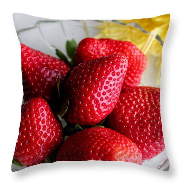 Strawberries And Yellow Mum Throw Pillow by Barbara Griffin