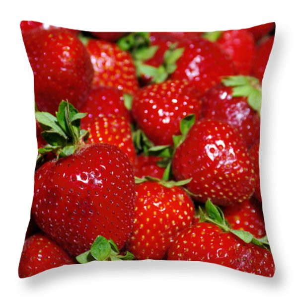strawberries Throw Pillow by Carlos Caetano