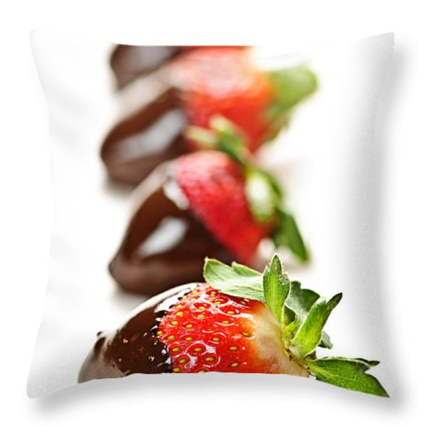 Strawberries dipped in chocolate Throw Pillow by Elena Elisseeva