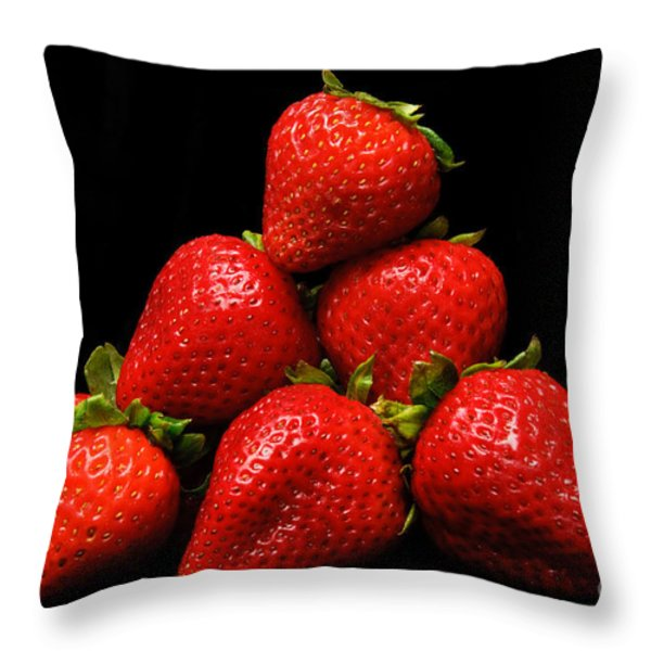 Strawberries On Velvet Throw Pillow by Andee Design
