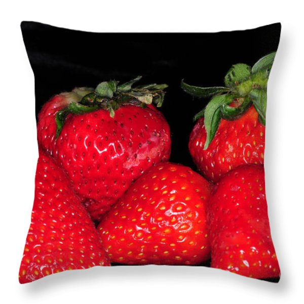Strawberries Throw Pillow by Paul Ward
