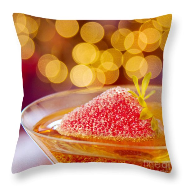 Strawberry and Champagne Throw Pillow by Kim Fearheiley
