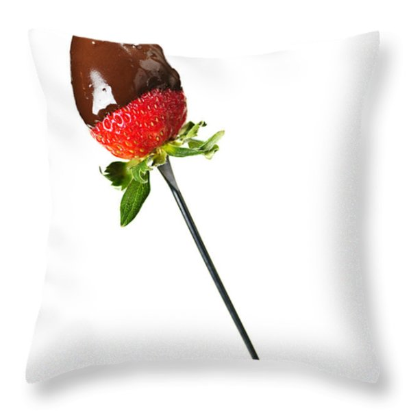 Strawberry Dipped In Chocolate Throw Pillow by Elena Elisseeva