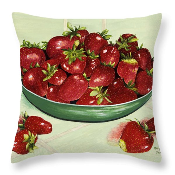 Strawberry Memories Throw Pillow by Mary Ann King