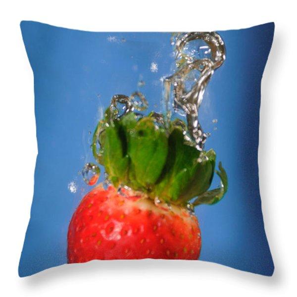 Strawberry Plunge Throw Pillow by John White