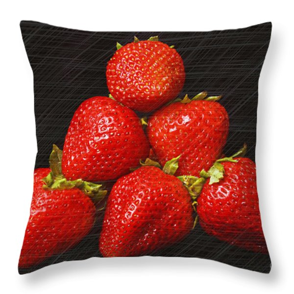 Strawberry Pyramid On Black Throw Pillow by Andee Design