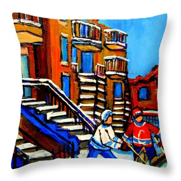 Street Hockey Near Staircases Montreal Winter Scene Throw Pillow by Carole Spandau