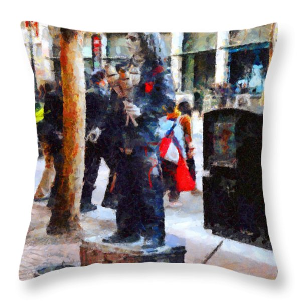 Street Performer in Downtown San Francisco . 7D4246 Throw Pillow by Wingsdomain Art and Photography