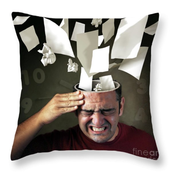 Stressed Throw Pillow by Carlos Caetano