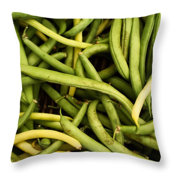 String Beans Throw Pillow by Tanya Harrison