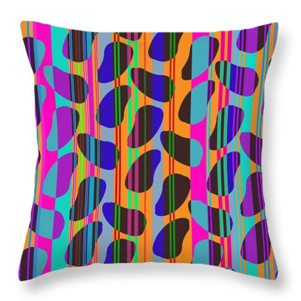 Stripe Beans Throw Pillow by Louisa Knight